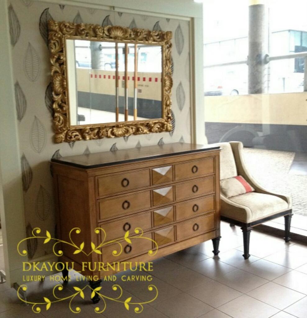 Meja Konsol Cabinet Mewah Jati Model Eropa Terbaru Modern Hias Ruang Tamu Kaca Cermin