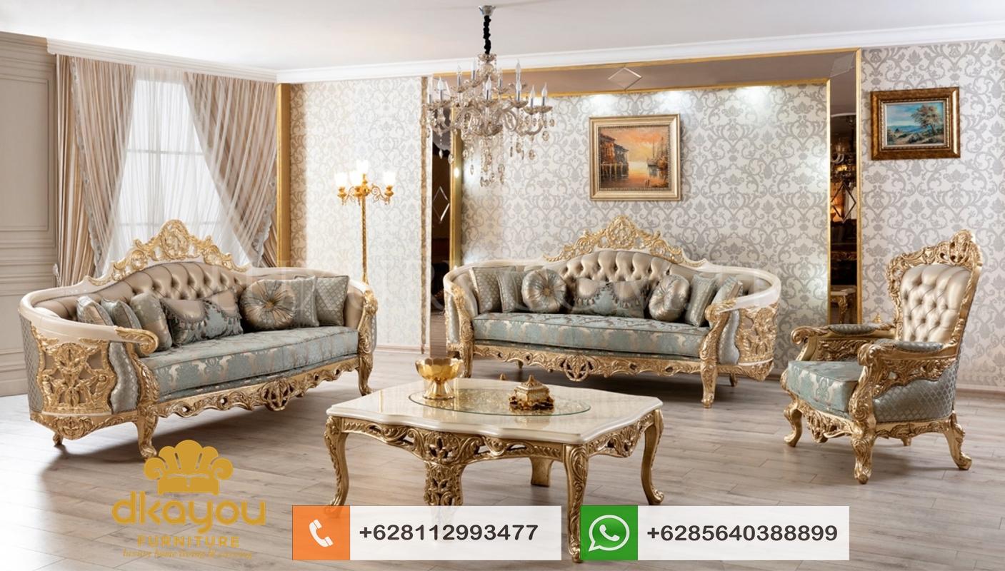 harga 1 set sofa mewah klasik gold
