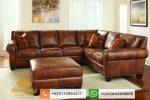 sofa l kulit asli model terbaru