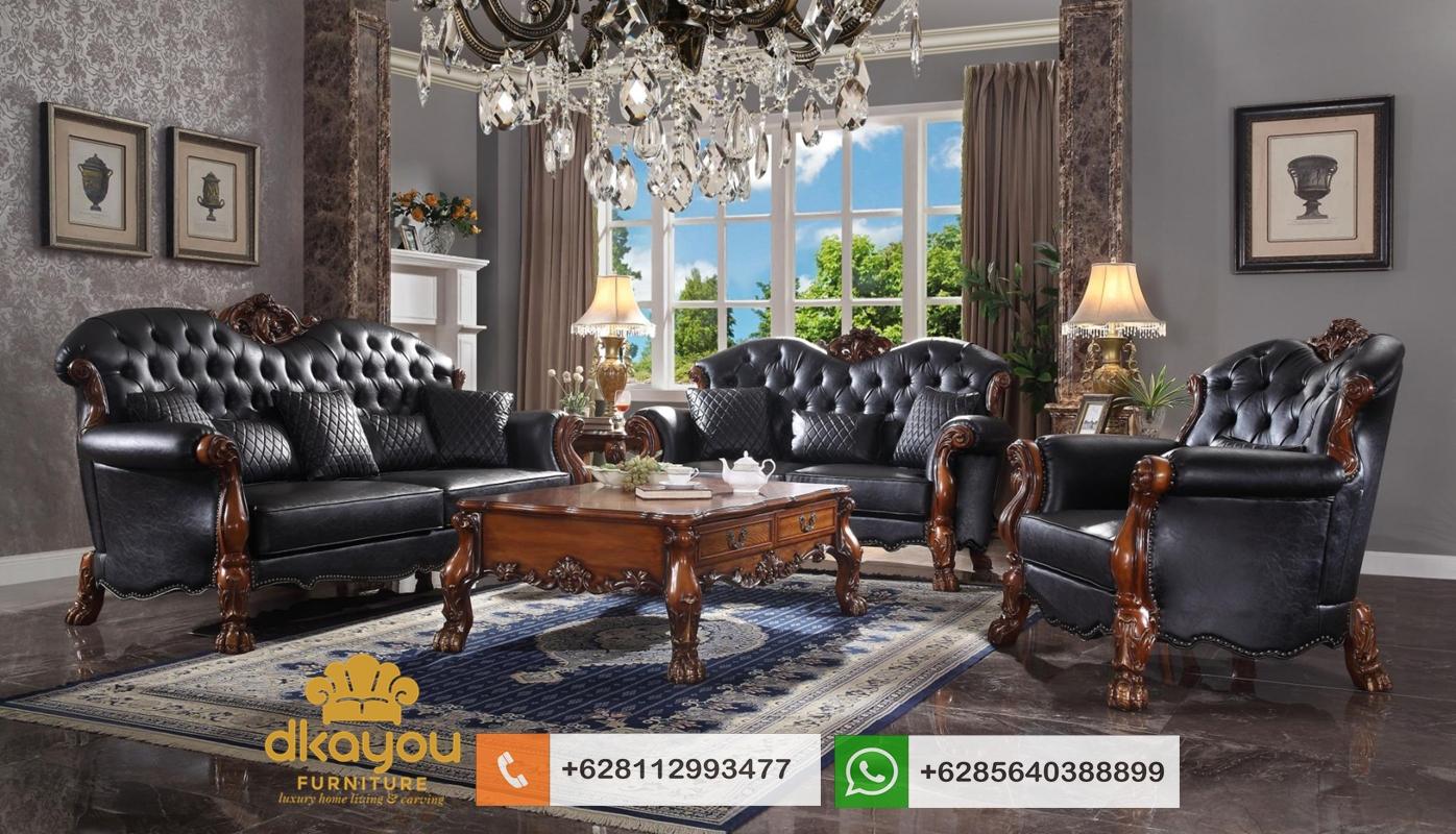 sofa jati kulit asli