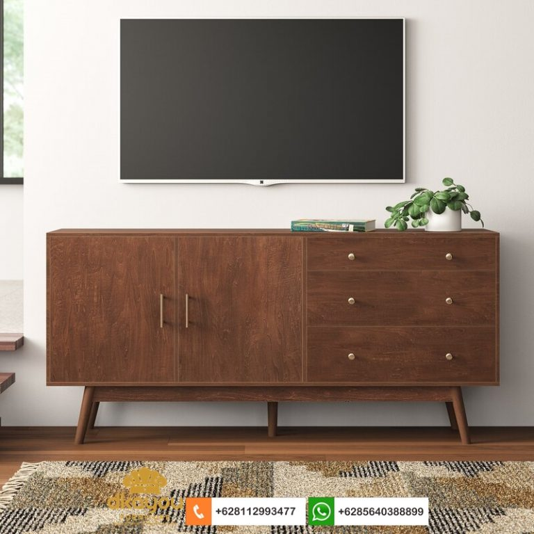 meja tv minimalis kayu jati