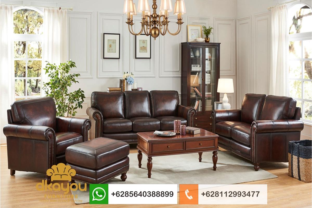 sofa chesterfield kulit sapi original