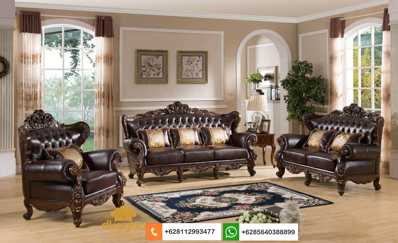 sofa kulit kayu jati