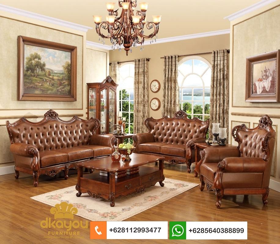 sofa klasik romawi mewah kulit sapi